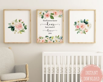 Girls Room Decor Nursery Wall Decor Floral Nursery Prints, Baby Girl  Nursery Wall Art, Youu0027ll Never Know Dear How Much I Love You