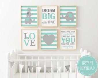 Elephant Nursery, Baby Boy Wall Art, Aqua Nursery, Nursery Wall Decor,  Elephant Nursery, Elephant Nursery Decor, Boy Wall Decor, Nursery Art
