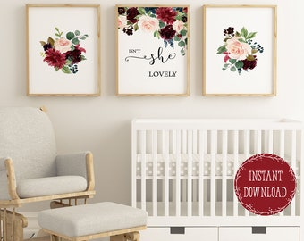 Nice Girls Room Decor Nursery Wall Decor Floral Nursery Prints, Isnt She Lovely  Quote For Baby Girl Nursery Wall Art, Girl Wall Decor