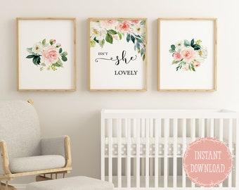 baby girl nursery etsynursery wall decor for baby girl nursery, baby girl wall decor floral nursery prints, isnt she lovely quote print for girls room decor,
