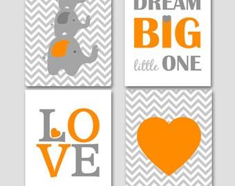 Dream big little one, Set of 4 PRINTABLE, Elephant nursery, grey orange nursery decor, boys room, elephant print