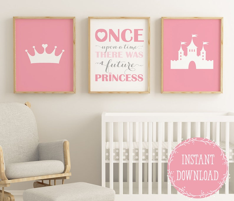 Baby Girl Nursery Princess Wall Art Decor Pink