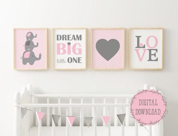 9042e59ebc6e3 Pink baby girl nursery decor, Elephant Baby nursery, Dream big little one  quote wall art DIGITAL