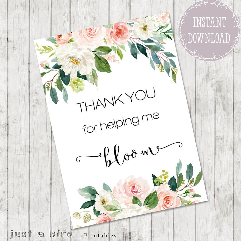 Thank you notes for teacher, Teacher Appreciation Card PRINTABLE, Thank You  For Helping Me Bloom, End of Year Gift, Graduation