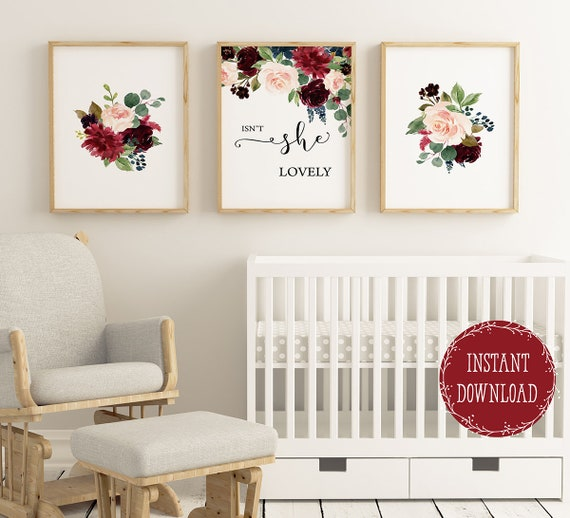 Girls Room Decor Nursery Wall Decor Floral Nursery Prints Isnt She Lovely Quote For Baby Girl Nursery Wall Art Girl Wall Decor