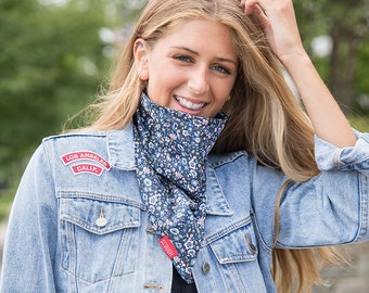 Bleu Jean Guêtre de Cou USA Made Bleu Visage Tube Coton Visage Écharpe