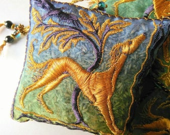 Gold  Saluki Hound, Hawk, Hares, Blue Embroidered Sachet, supplied empty or filled with lavender. Perfect gift,