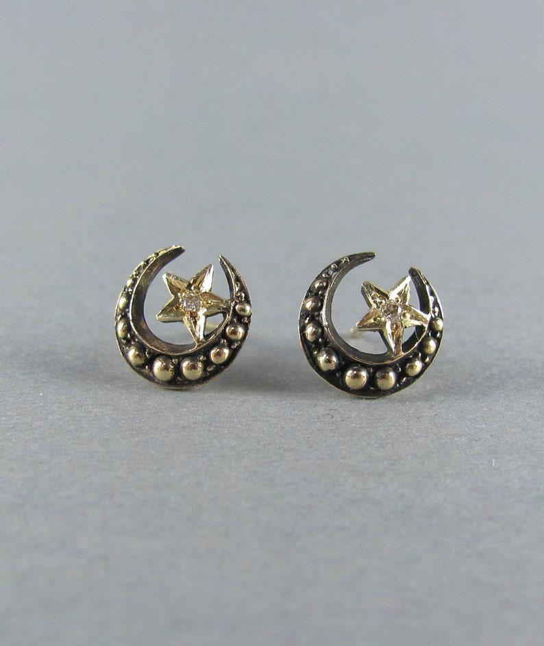 f35c8683e53b6 DIAMOND star and crescent moon stud earrings, 14k solid yellow gold  celestial earrings, wedding bridal earrings jewelry, Sailor Moon