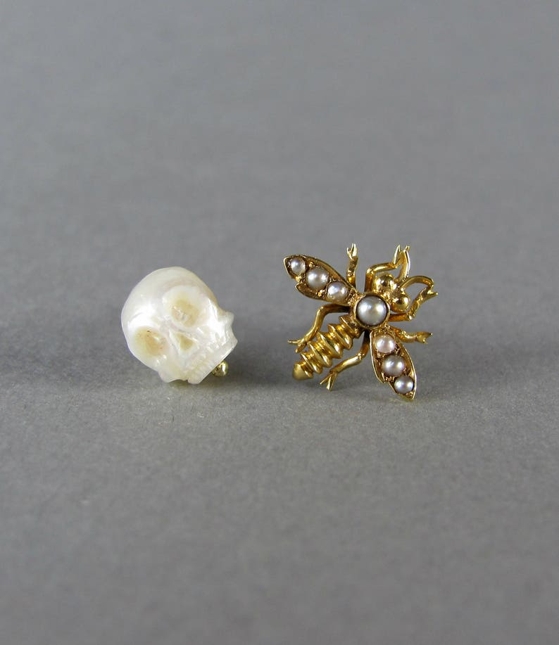 896decb6fc3c3 MIXED gold and pearl stud earrings, hand carved pearl skull stud and  antique seed pearl bee mix and match earrings pair, solid 14k gold set