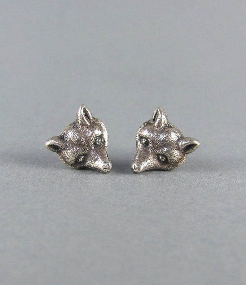 3016f932d4650 REALISTIC fox earrings, detailed sterling silver, 14k rose and yellow gold  spirit animal stud earrings, cute handmade earrings, unique gift