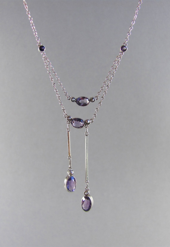 ANTIQUE Edwardian amethyst and silver negligee nec