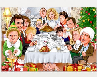 Rockwell Christmas Classic Characters Mashup Illustration Signed Print, Southworth Heavy Linen Paper