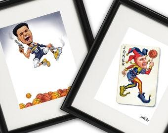 2 Print Bundle Nikola Joker Jokic & Jamal Murray Sharpshooter Denver Nuggets Illustration Signed by Artist Print