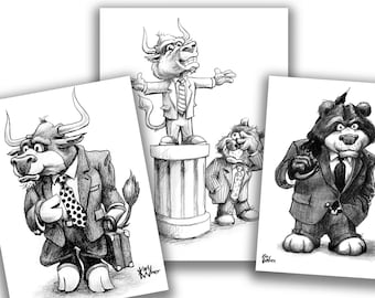 Bull and Bear 3 Pack Bundle: Bull in Suit, Bear in Suit, Pedestal Stockmarket/Business Cartoon Signed by Artist Print, Business Gift