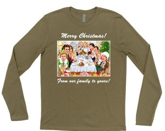 Rockwell Meets Christmas Characters Men's Long Sleeve Shirt w Message