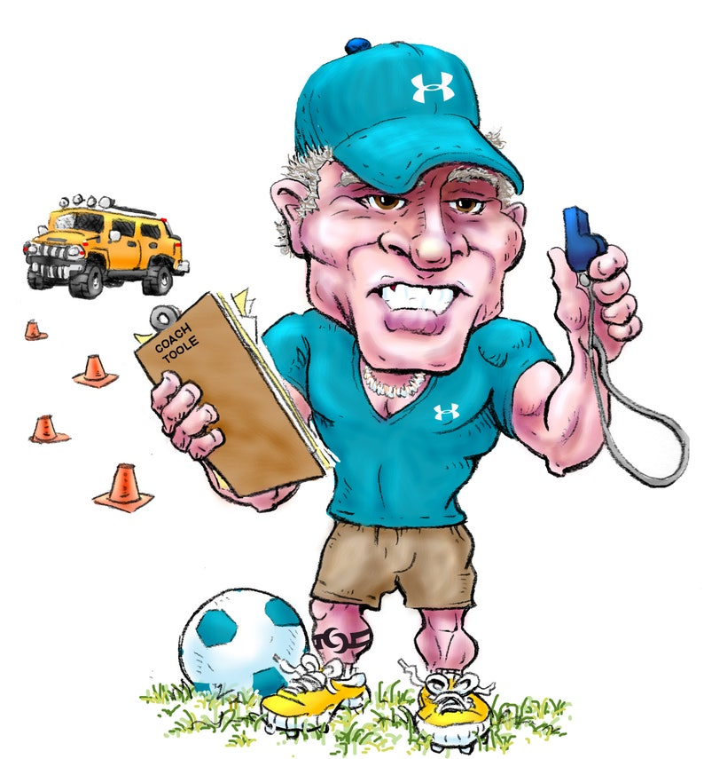 That Over-the-Top Dad Coach CartoonIllustration Signed by Artist Print Southworth Heavy Linen Paper