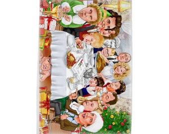 Rockwell Meets Christmas Characters Tea Towel