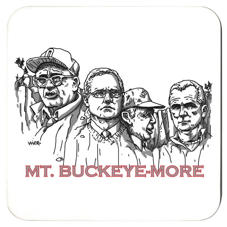 Mt Buckeyemore 4 Coaster Set Featuring Two Pieces of Art