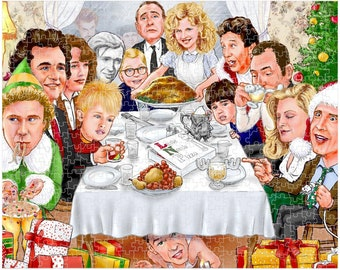 Rockwell Meets Christmas Characters Mashup Premium Puzzle