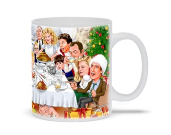 Rockwell Meets Classic Christmas Movie Characters Mug