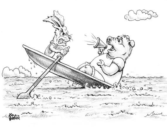 Southworth Heavy Linen Paper Pig Rabbit Crew Cartoon Illustration Signed by Artist Print