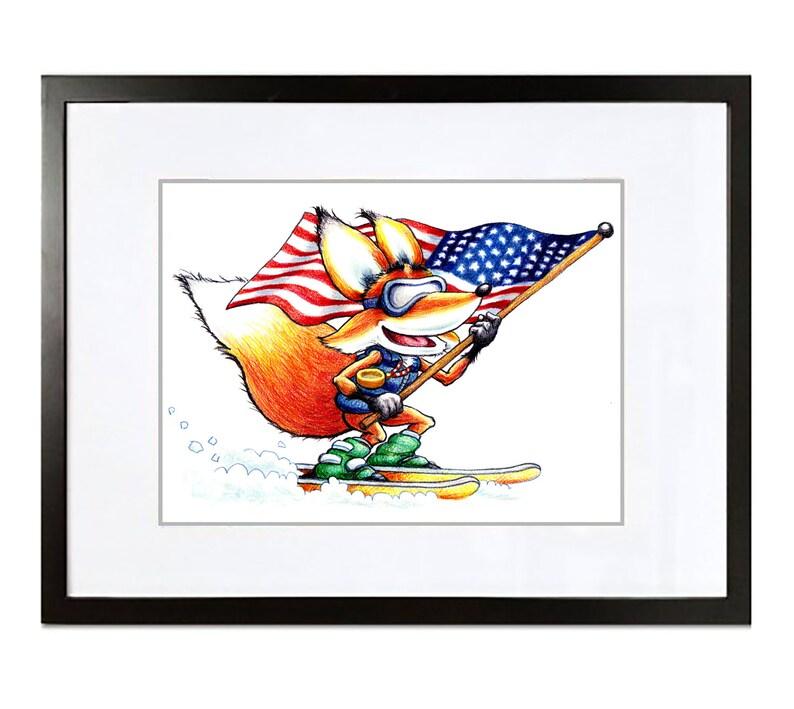 5b131ddf08f0 Fox American Flag Ski Cartoon Signed Print Derwent Artist