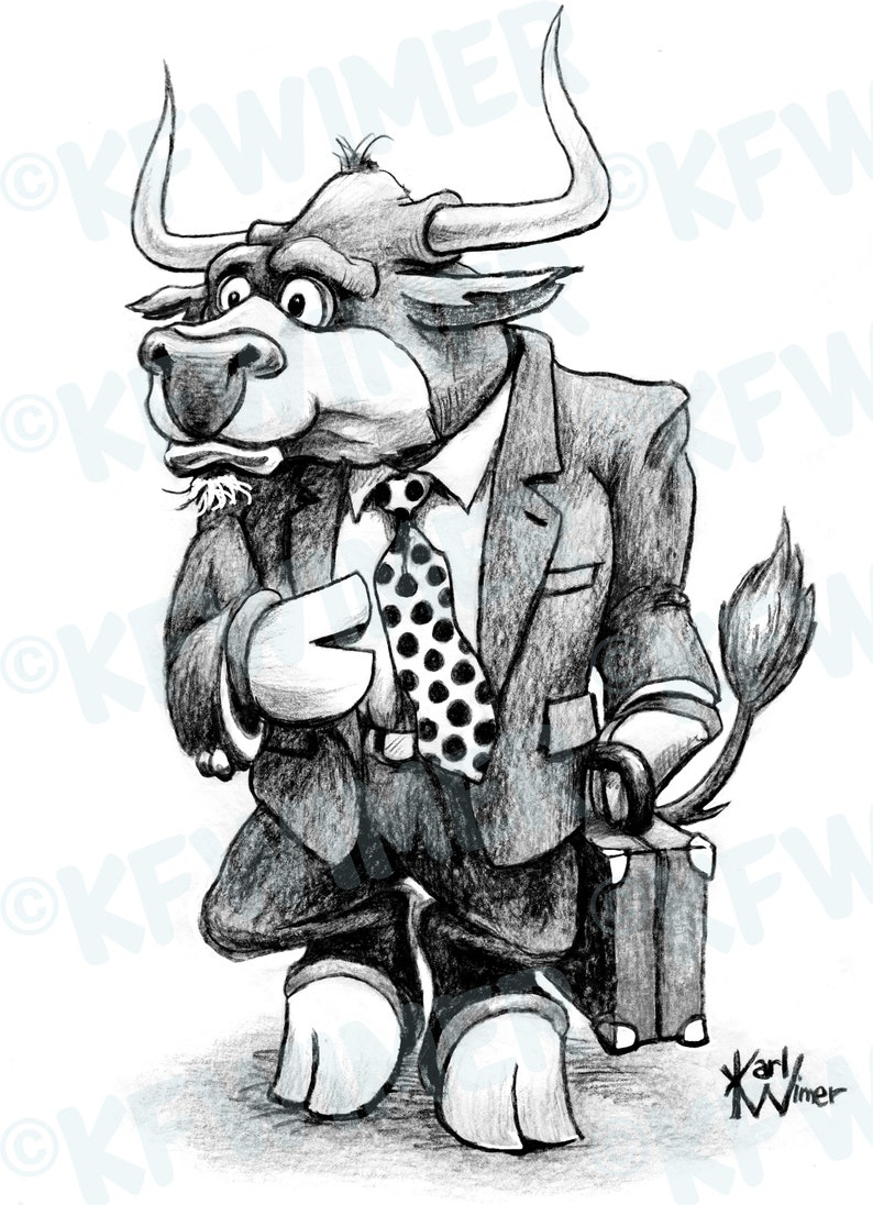 Bull in Suit StockmarketBusiness Cartoon Signed by Artist Print Southworth Heavy Linen Paper Business Gift