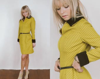 RARE 1960's Retro Mustard Yellow Pin Striped Zip Down Dress w/ Faux Fur Cuffs and Collar