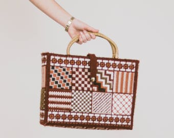 60's-70's Vintage Checkered Needlepoint Tote w/ Lining & Pockets