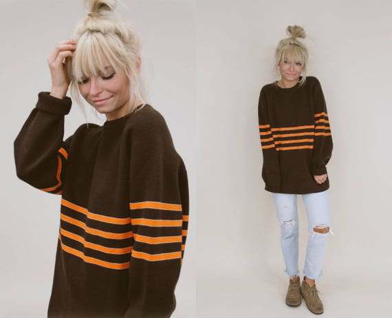 1970's Retro Brown Sweater w/ Orange Stripes
