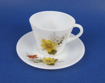 JAJ Pyrex Autumn Glory (Dahlia in the USA) Cup and Saucer. Multiple sets. Vintage English Pyrex.