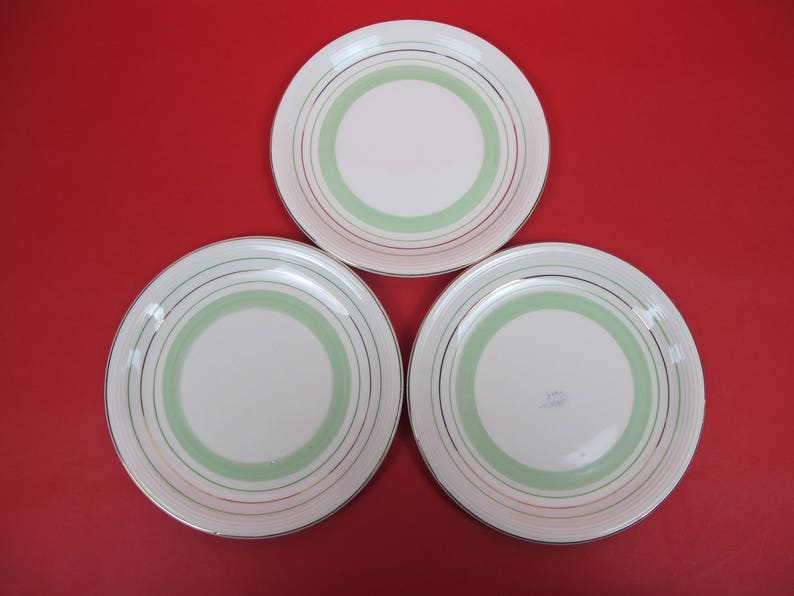 Three vintage hand painted plates  Green and black banding - elegant and  stylish  Wood and Sons, Ringwood Ware