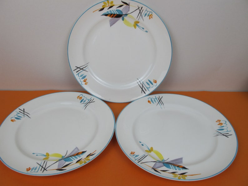 Stunning Art Deco Grays Pottery plates x 3 Hand Painted ceramics 1930s English ceramics 22.5cm diameter A535-1932 Great colours