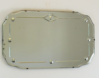 Art Deco, bevelled edge, frameless wall mirror with cut glass detail. Lovely unusual curved corners. Ready to hang on new chain.