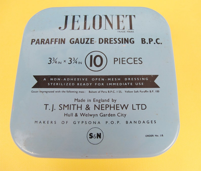 Jelonet paraffin gauze dressing BPC Vintage small square advertising tin. Vintage English medical supply tin Made by Smith and Nephew Ltd
