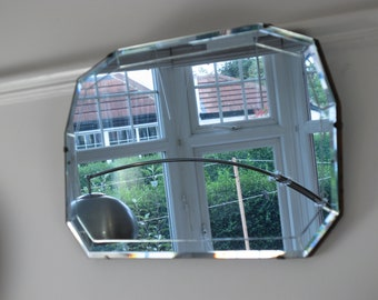 Vintage bevelled edge, frameless Art Deco mirror. Fabulous 10 sided shape with  cut glass border. Ready to hang on new chain