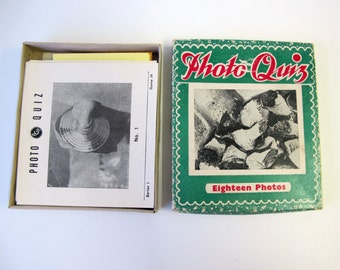 Vintage photo guessing game. Can you tell what it is? 1950s party game. Christmas family fun