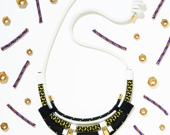 The K3 necklace, climbing rope, cord rope, minimal colours, gold and black