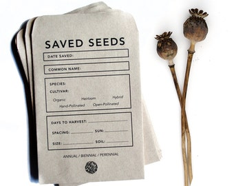 Seed Saving Envelopes | Heirloom Gardening | Recycled Paper and Soy Ink