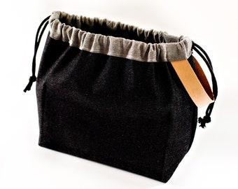 Black Japanese Denim FIELD BAG craft project bag