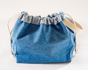 80s Jean Jacket FIELD BAG craft project bag