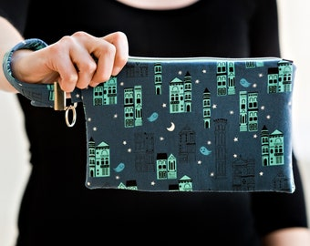 URBAN GHOSTS carry-all clutch with silver hardware