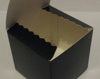 12 3x3x3 glossy black kraft favor box/treat box/ornament