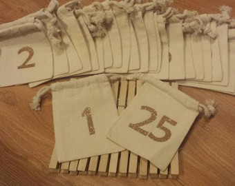 Muslin bag advent calendar kit. 25 3.5x5 bags and clothespins. Gold glitter. Holiday countdown.