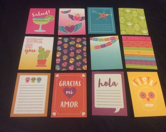 12 fiesta journaling cards- scrapbooking/pocket letters/planner accessories/planne  dashboard