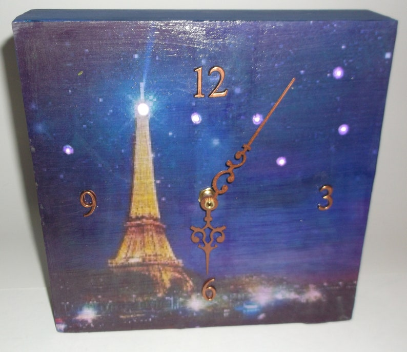 2cd3297e35 One of a kind hand made clock, Big Dipper over Eiffel Tower. Night light.  Free U.S. shipping