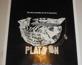 Vintage One Sheet Movie Poster Platoon Rolled Never Folded Oliver Stone Charlie Sheen 1986 Movie Memorabilia