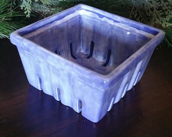 Large Ceramic Berry Basket, Blue