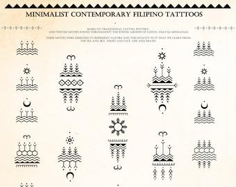 VERSION 2 Minimalistic Contemporary Filipino Tattoo Motifs & Reference Sheet DIGITAL DOWNLOAD | Bathalia Digital Print