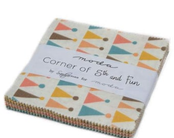 Corner of 5th and Fun Charm Pack by Sandy Gervais for Moda Fabrics. 17900PP